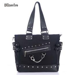Wholesale Punk Shoulder Bags - DIINOVIVO Rock Style Rivet Handbag Fashion Women Punk Casual Tote Zipper Chain Female Motorcycle Shoulder Crossbody Bag WHDV0207