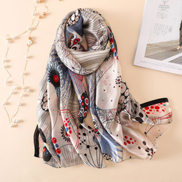 e8e3931d9ee87 2018 New Women's Scarf Fashion Soft Print Silk Scarves Long Lady Shawls and  Wraps Female Foulard Beach Stole Hijabs