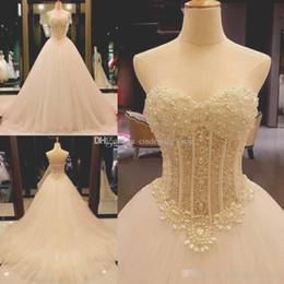 Wholesale Bone Bodice Wedding Dress - Real Image 2018 Wedding Dresses Sweetheart Beading Pearls Illusion Bodice A Line Exposed Boning Sweep Train Bridal Gowns Custom Made Cheap