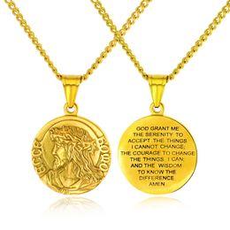 """Jesus cristo on-line-Christian serenity oração colar de aço inoxidável virgem maria / jesus christ medalha pingente de colar com 24 """"cadeia para homens mulheres"""