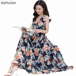eafa9f92df KoHuiJoo Summer Plus Size Print Bohomian Beach Dress Women Sexy Elegant V  Neck Sleeveless Sundress Casual Ladies Vintage Dress