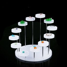 Wholesale Glass Table Stand - Gemstone Ring Pendant Display Stand Round Table Tiers White Clear Acrylic Boutique Showcase Multi Function Jewelry Exhibition Free Shipping