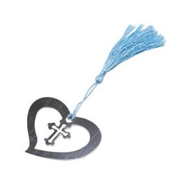 Marcador de la cruz online-Metal Creative Heart Cross Marcador Material escolar Marcador romántico Estacionario
