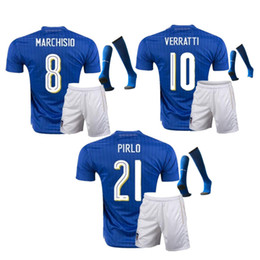 Wholesale National Names - Thailand AAA 2018 Italy National Team Soccer Jersey Mens BELOTTI IMMOBIE Italia Casa Calcio Maglia Customized Name And Number Blue Football