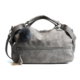 Wholesale Pillow Balls - Hot Scrub Shoulder Bags for Women Female Fashion Fur Ball Dames Tassel Lady Vintage Tassel Crossbody Bag Girl Causal Handbags