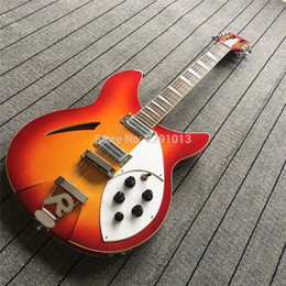 Wholesale 12 Strings Electric - Custom RIC Cherry Sunburst 360 330 12 Strings Flame Maple Top Electric Guitar Semi Hollow Body Triangle Mother Of Pearloid Fingerboard Inlay
