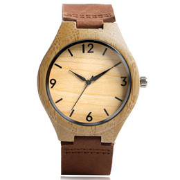 Wholesale Wood Wrist Watch Mens - Free Shipping Moso Bamboo Watches Natural Wood Brown Genuine Leather Wrist Watch Classic Business Mens Leisure Succinct Clock
