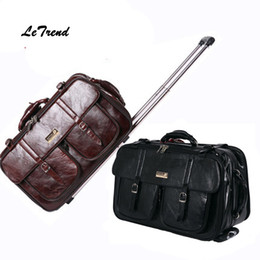 Wholesale-Letrend New Men Business Travel Bag Multi-function Suitcase  Leather Carry On Women Rolling Luggage Trolley Boarding Bag Trunk bb94b4721d229