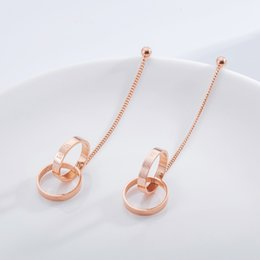 fashion circle long earrings Coupons - Women's long earrings fashion personality creative long double circle tassel earrings titanium steel rose gold color