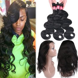 Wholesale Remy Human - 8A Brazilian Straight & Body Wave Virgin Human Hair 3 Bundles With 360 Full Lace Closure Remy 3 Bundles Brazilian Peruvian Human Hair Weaves