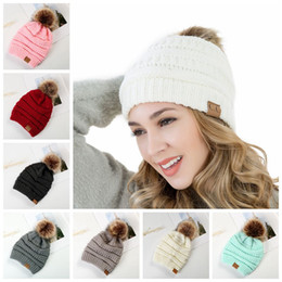 Wholesale fleece beanie hats - CC Beanies Wool Fur Ball Cap Stretch Cable Pom Poms Winter Hat Knitted Warm Beanies Cap Without Fleece 200pcs OOA4401
