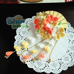 Wholesale Japanese Princess Anime - hand made hairpin cotton cloth hair clip barrettes Japanese style anime Kimono cosplay accessories sakura fan