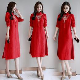 Summer Spring dress for women Stile etnico Maniche lunghe Abito casual donna  Nero Rosso sciolto Biancheria in cotone Vintage Vietnam Abito Ao Dai 64f3075b126