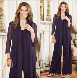 Wholesale womens formal dress size 12 - 2018 Elegant Purple Plus Size Mother Of The Bride Pants Suits With Jacket Womens Chiffon Long Sleeve Mother Formal Dress For Wedding