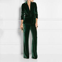 Зеленый офис онлайн-Новые ElePant костюмы тонкие женские офисные деловые костюмы формальная рабочая одежда 2 шт. Наборы темно-зеленые бархатные женские брюки