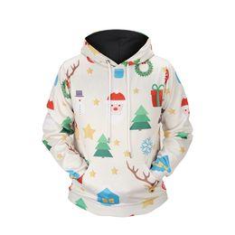 2018 Новый Dirrect Завод Оптовая Plyester Спандекс Санта Подарок Рождеством Xmas Снег Перемычка Унисекс С Капюшоном Одежда Новинка Прохладный #L6705 от Поставщики рождественская одежда