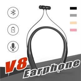 haut-parleurs bluetooth sony Promotion V8 Bluetooth Casque Sans Fil Stéréo bluetooth écouteur casque Lound haut-parleur En Plein Air Lecteur de Musique Pour iphone X Samsung LG Smartphone
