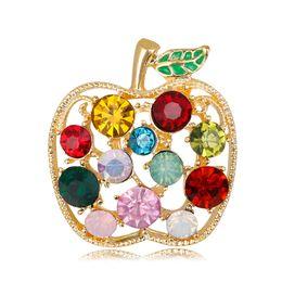 Wholesale Apple Brooches - Alloy Diamond Apple Brooch Wholesale Spot Retro Cartoon Personality Fruit Brooch Korean Jewelry Fashion Wild Temperament Women 2Color