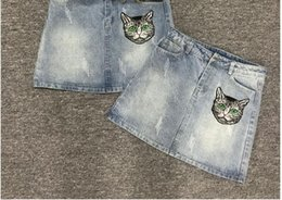 Wholesale Embroidery Denim Skirts - European station 2018 spring and summer new letter printing embroidery cat head Slim stovepipe cowboy skirt.
