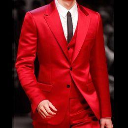 2019 мужские костюмы красные Costume Mariage Homme Men Suits For Wedding 2018 Custom Made Red Groom Suits For Dinner Evening Party Dress terno masculino 2017 скидка мужские костюмы красные