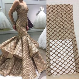 Wholesale Transparent Mermaid Prom Dress Lace Jewels - Arabic Gold Evening Dresses Tulle Sequins Long Transparent Sleeve Mermaid Puffy Ruffle Floor Length prom Gowns Yousef Aljasmi