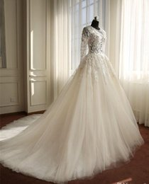 Wholesale Real Natural Pearls - Sexy Illusion Bodice Lace Long Sleeve Wedding Dresses 2018 Sheer Jewel Neck Beaded 3D Floral Applique Wedding Gown Buttons Bridal Gowns