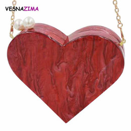 Wholesale Heart Shaped Red Handbag - VESNAZIMA Women Acrylic Evening Bag 2017 Ladies Heart-shape Clutch Purse Bridal Wedding Party Purse Pearl Beaded Handbag WM482Z