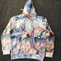 Flusso elevato online-home Felpa con cappuccio da uomo di alta qualità da uomo dipinta a mano con paesaggio dipinto