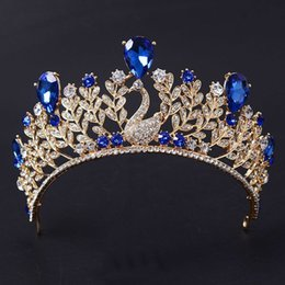 Wholesale Crystal Hair Accessories Peacocks - Magnificent Blue Rhinestone Peacock Bridal Crown Tiaras Fashion Gold Crystal Diadem for Women Wedding Hair Jewelry Accessories