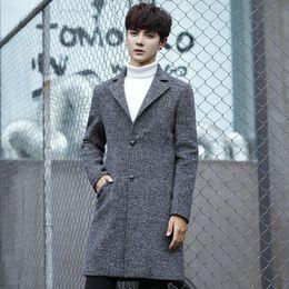 Wholesale Korean Long Vest Coat - Free shipping Korean version autumn and winter large size lapel windbreaker jacket long section single breasted men's coat M-5XL