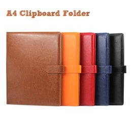 Wholesale Pad Organizer - A4 Clipboard Folder Portfolio Multi-function Leather Organizer Sturdy Office Manager Clip Writing Pads Legal Paper Contract