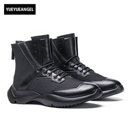 Wholesale thick punk boots - 2017 Winter New Fashion Mens Round Toe Ankle Boots Lace Up Genuine Leather Cow Male Shoe Retro Punk Fur Lining Warm Thick Bottom