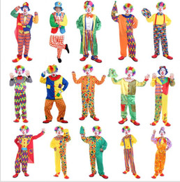 Wholesale carnival clown - Halloween Christmas Circus Clown Costume Cosplay Suit Adult Performanc Clown Carnival Chapeau Uniform Circus Costumes KKA5688