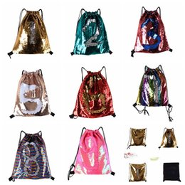 8faf5475cba4 Glitter Mermaid Sequins Backpacks Drawstring Portable Glittering Shoulder  Bag Outdoor Bag Gym Sport Sack Bag 36 42cm plain nylon drawstring backpack  ...