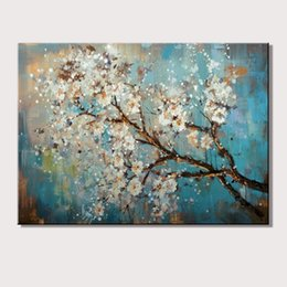 Wholesale trees flower floral painting - Large 100% Handpainted Flowers Tree Abstract Morden Oil Painting On Canvas Wall Art Wall Pictures For Live Room Home Decor