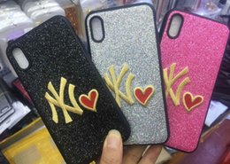 Wholesale Ny Wholesalers - NY Love Phone Cover PINK Fashion Design Glitter 3D Embroidery Phone Case For iPhone X, iPhone 8, 7, 6 Plus, for Samsung S9 S9 plus