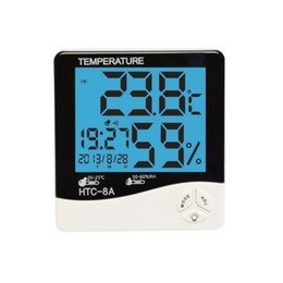 Wholesale Thermometer Night Light - 1PC New LCD Night Light Indoor Humidity Monitor Temperature Sensor Hygrometer Thermometer with Date Time Alarm Clock (HTC-8A)
