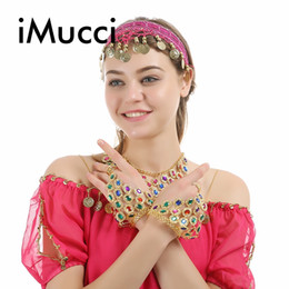 89ccdec1d2 iMucci Indian Dancing Show Accessories Colorful Crystal Triangle Bangle  Chain Exotic Jewelry Belly Dance Dress Bracelet