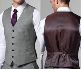 2018 venda quente luz cinza colete dos homens formais nova chegada moda noivo coletes casuais slim fit colete de Fornecedores de imagens masculinos terno marrom