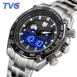 Wholesale Tvg Steel Watch - 2017 Top Brand Luxury TVG Watches Men Full Steel Dual Time Digital Quartz Watches 30M Waterproof Dive Sports For Men