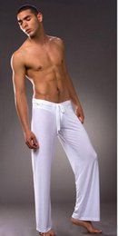 Wholesale long white bathrobe - men sleep Long Pants sexy mens Silk sleep Pants bathing sleepwear bathrobe Pajamas Yoga