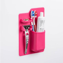 Wholesale toothbrush toothpaste case - Silicone Toothbrush Holder Bathroom Toothbrush Rack Toothpick Sanitary Toiletries Shaver Organizer Toothpaste Storage Case CCA8479 50pcs