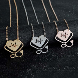 Wholesale gold chain chokers - Doctor Nurse Gift Heart ECG Stethoscope Necklace & Pendant For men women Rose Gold Silver Necklace Alloy Chain Choker 162354