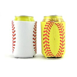 Wholesale bottom case - 10*13cm Baseball Softball Can Sleeves Neoprene Beverage Coolers Can Holder With Bottom Beer Cup Cover Case 4Colors HH7-1163