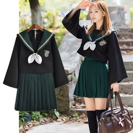 sailor uniform cosplay Promo Codes - HP Slytherin Girls Womens Cosplay Costumes Lolita Sailor JK Uniform Skirt Sets