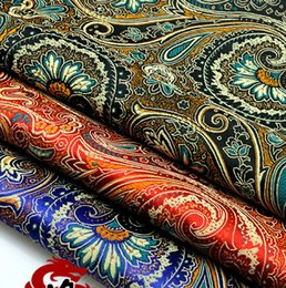 2019 tecidos de damasco Tecido cetim cauda antigo traje chinês Vestido Vestuário Roupa do bebê Kimono damasco Tecidos COS seda pano impresso Peacock tecidos de damasco barato
