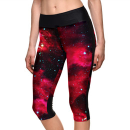 Wholesale galaxy girls pant - 7Slgs-1062 women girls cropped pants leggings capris female plus size digital printing red galaxy slim ladies calf length pants