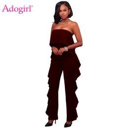 979a68226d7 Adogirl Burgundy Delicate Ruffle Trim Strapless Jumpsuit EleWomen Wide Leg Pants  Rompers Fashion Slim Combinaison Overalls