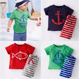 Wholesale Pirates Pc - Children Summer Clothes Sets Short 2 pcs Pirate Ship Cartoon Printed T-shirt + Stripe Pants Children Boy Beach Clothes Set 2-6T YZTZ162
