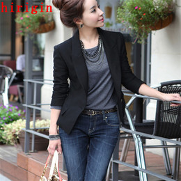 Wholesale Womens Size Small - plus size autumn fashion womens slim any collocation solid black casual small suit elegant cotton tops